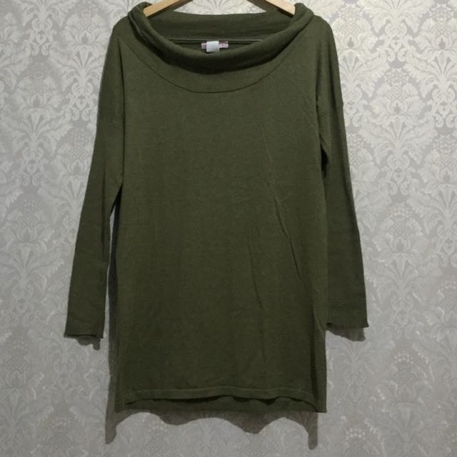 Supre Knit Army Top / Sweater Hijau Army Rajut