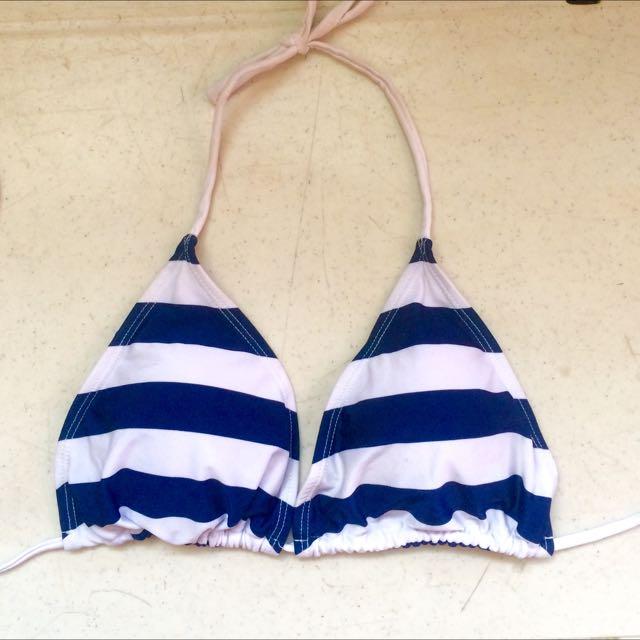 Swimsuit Top Navy Blue - White Stripe