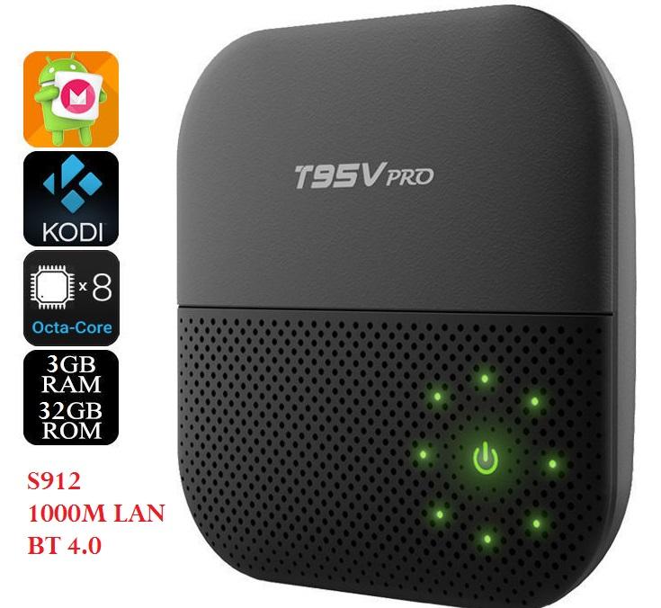 T95V PRO S912 OCTA CORE 3G RAM 32GB ROM 1000M LAN BLUETOOTH 4 4K HDR DUAL  WIFI 2 4G/5G