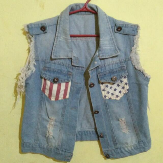 Tattered Denim Vest