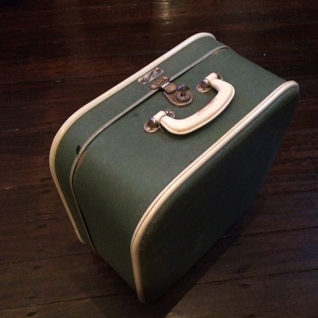 Vintage Retro Fred Dodge Fiber Airport Pale Green Suitcase