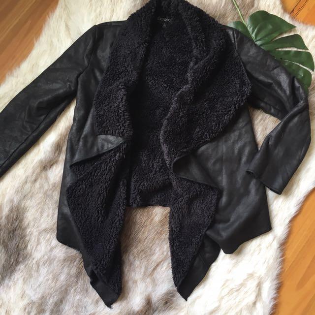 'Cruella Coat' Leather Look Faux Fur Lined