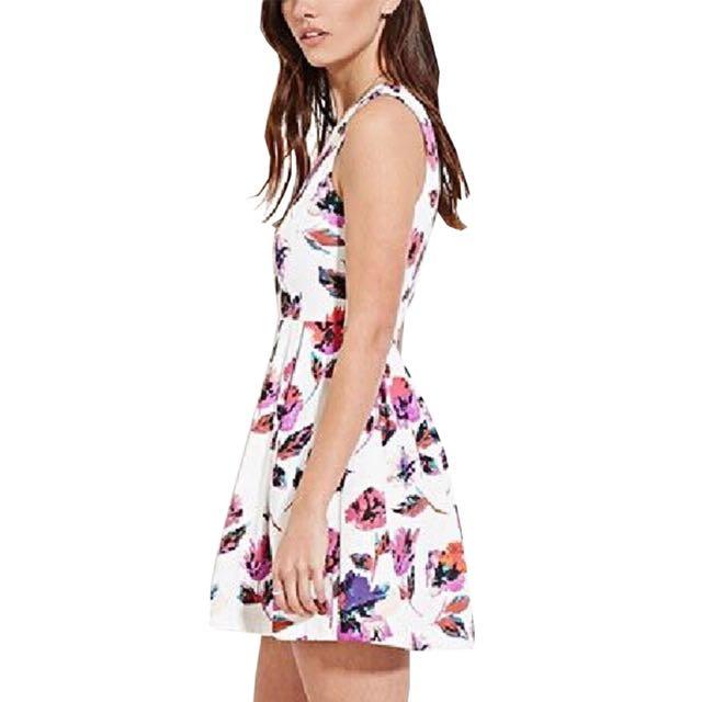 White floral watercolor print dress Brand New Medium