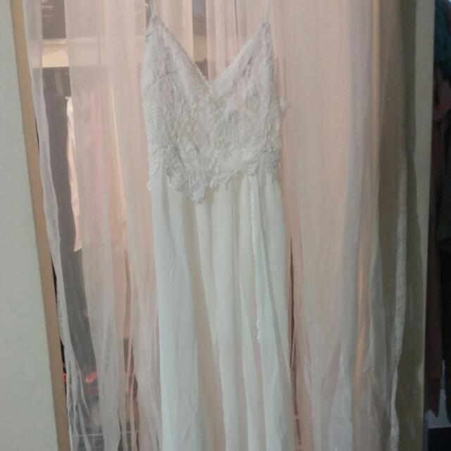 White Maxi Dress Lace Beach Boho