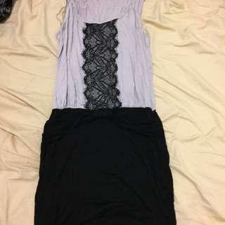 Beige And Black Dress