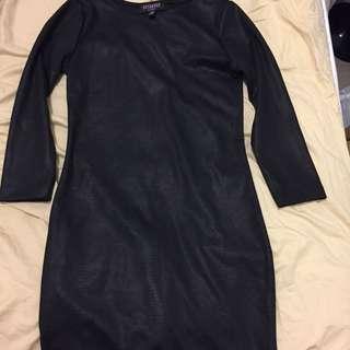 Black Leather Snake Dress
