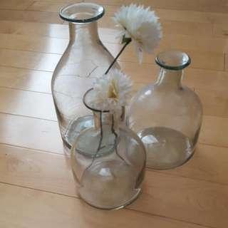 3 Glass Vases