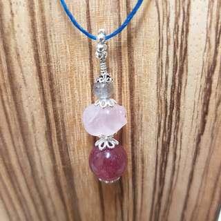 粉晶小豬項鍊,粉晶,草莓晶,拉長石