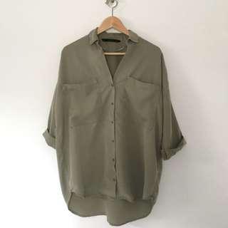 Khaki Tunic / Size: S / Brand: Zara