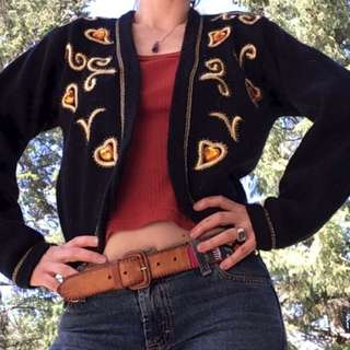 Vintage 80's Beaded & Embroidered Sweater