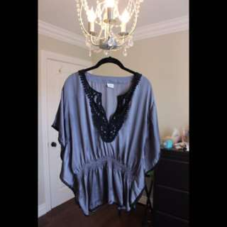 Grey Blouse With Black Embroidery