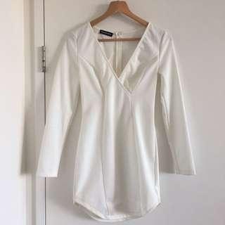 White Long Sleeve Bodycon Dress