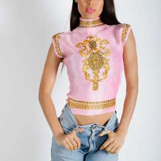 Rare 90s Vintage Millennial Pink Stretch Nylon Top