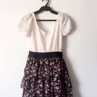Pink Lace Top With Floral Skirt