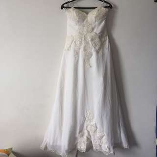White Gown With Lace Appliqué