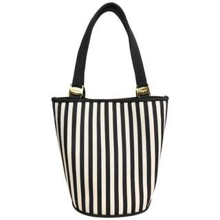 Vintage 80s Salvatore Ferragamo Black And White Strap Bucket Handbag