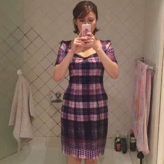 Review Purple & Pink Check Pattered Dress