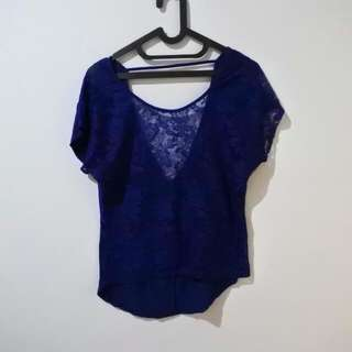 Blue Top Brokat Backless