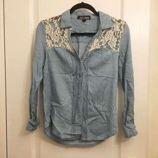 Forever 21 Lace Denim Shirt
