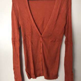 MNG Orange Ribbed Cardigan