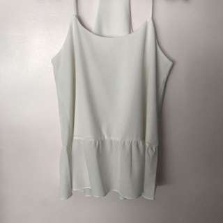 White Thin Strap Top w Ruffled Hem