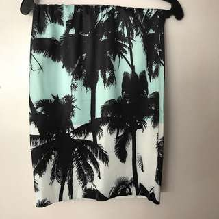 Palm Print Tube Skirt