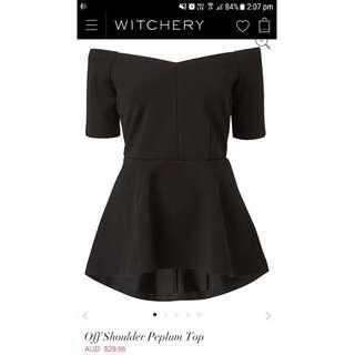 Witchery Off Shoulder Peplum Top Black