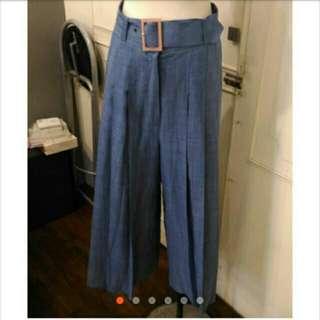 深藍雪紡高腰寬褲裙
