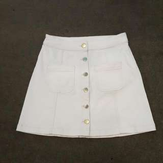 H&M White Denim Button Down Skirt
