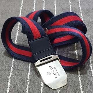 Gucci Men's Blue Red Palladium Slider Belt
