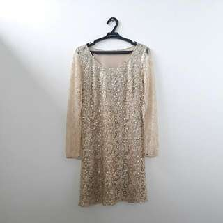 Promod Gold Lace and Sequin Dress