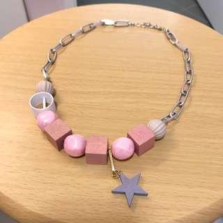 New 韓國粉紅白珠灰星頸鍊