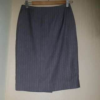 Studio Tangs Grey Pinstriped Pencil Skirt