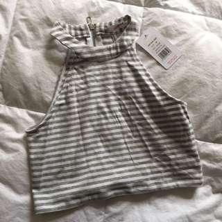 Grey White Striped Hi Neck Crop