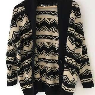 Black And Cream Oversized Cardigan