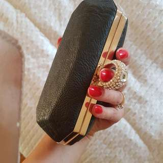 BLACK Glamour Boxed CLUTCH Bag/ NEW