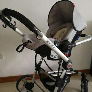 Pecan Sprinter Stroller in Grey + car seat