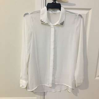 Sheer White Long Sleeve Top