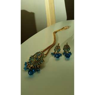 Blue & Gold Costume Jewellery Set