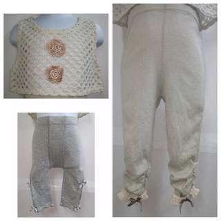 俏皮小可愛超值三件組內搭褲×2 鏤空針織背心×1優質三件單品組合【全新女童超值三件組套裝4、5、9號】