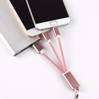 2-in-1 iOS Apple & Android USB Charger Cable Keychain