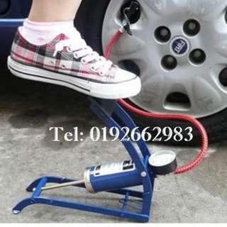 Auto Air Compressor Pump Foot Pump Tire Inflator Pump Foldable style (Blue)