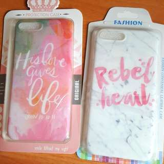Iphone 7plus 手機殼電話套英文字雲石紋彩色女性