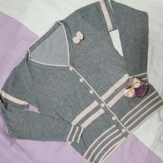 Pink And Gray Cardigan