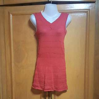 Red Knitted V-Neck Long Top