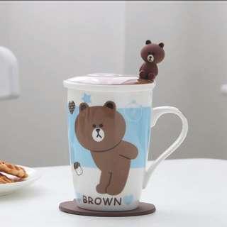 (四款圖)LINE BROWN 熊大 陶瓷杯套裝(需訂貨)