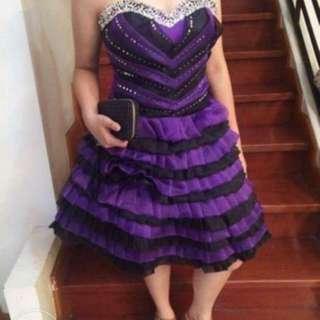 Violet And Black Cocktail Dress For RENT