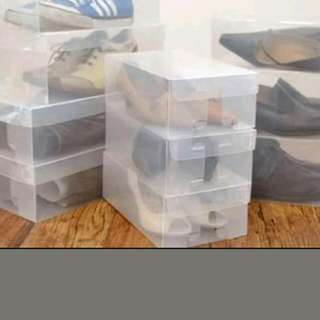 35 Clear Stackable Shoe Boxes.
