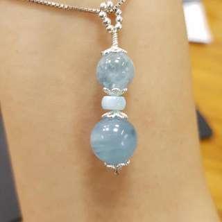 海藍寶項鍊,海藍寶,拉利瑪海紋石,925純銀配件