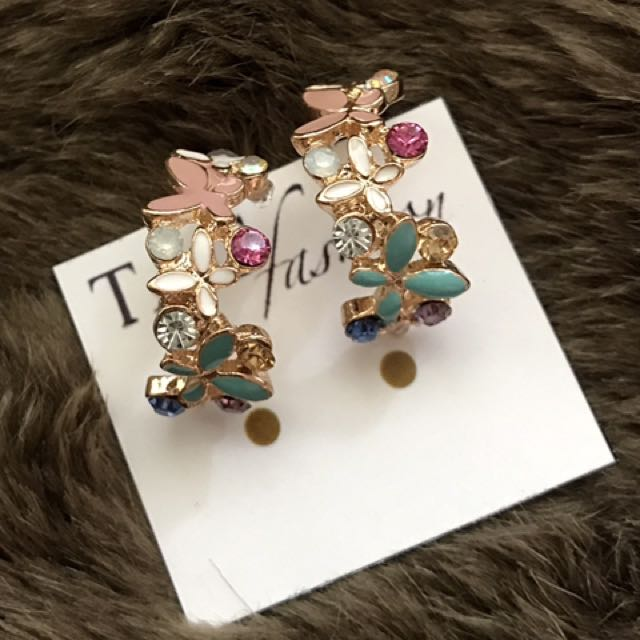 2017 New Hot !!! Fashion Fine Jewelry Gold Rhinestone Colorful Flowers Dazzling C-type Butterfly Stud Earrings